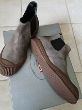 Prada Men's Grey Suede Rubber Cap Chelsea Boot US 11.5 UK 10.5