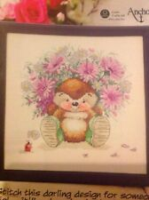 (M) Country Companions Ed Hedgehog Flower Bouquet Cross Stitch Chart