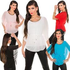 Hüftlange Damenblusen, - tops & -shirts im Blusen-Stil mit Flügelärmeln