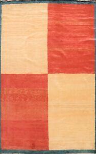 Contemporary Geometric Gabbeh Kashkoli Oriental Area Rug Hand-knotted Modern 5x8