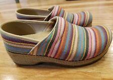 Dansko Jute Pro Professional Woven Vegan Clog Shoes Multi-Color Stripe Size 38