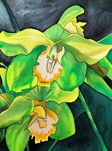 ORIGINAL ART - Green Orchids flower watercolour