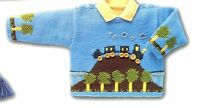 Baby Toddler Train Thomas Motif Sweater 4-6 Years ~  DK Knitting Pattern