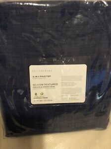 Pottery Barn Seaton Textured Blackout Drape Panel 50X84 NWT! Denim Blue