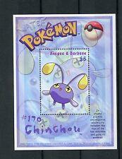 Antigua & Barbuda 2002 MNH Pokemon #170 Chinchou 1v S/S Nintendo Stamps