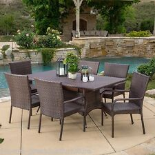 Outdoor Patio Furniture 7pc Multibrown All-Weather Wicker Dining Set