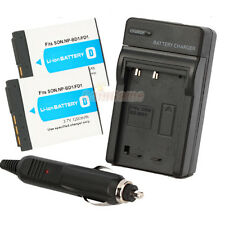 2 x NP-BD1 Type D Battery+Charger for SONY CyberShot DSC-T77 T90 T900 TX1 G3