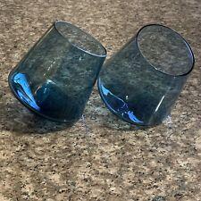 Whisky Glasses Rocking Tilting Glasses Tumblers Rocks Set of 2 BLUE