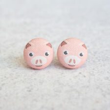 Pig Fabric Button Earrings
