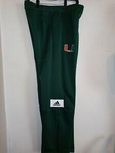 $75 Adidas Miami Hurricanes Gamemode Pants Joggers Green Men's Size Large EC4265