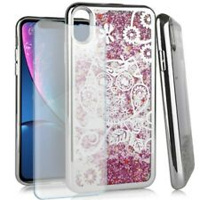 Flower Owl Pink Glitter Case For Apple iPhone XR Tempered Glass Screen Protector