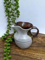 Vintage Single Serve Milk Jug Pottery Brown & Off White Glaze Rustic Boho Gypsy