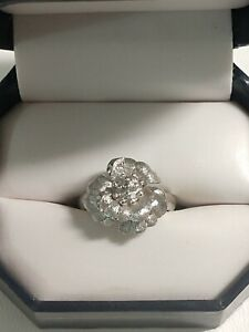 Stunning Vintage Signed Crown TRIFARI Alfred Philippe Flower Ring Silver Tone