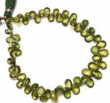 """Natural Gem Bottle Green Apatite 5x7 to 6x9MM Pear Shape Briolette Beads 9"""""""
