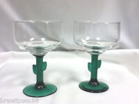Cactus stemmed footed cocktail glasses 2 margarita drink bar glassware IX4