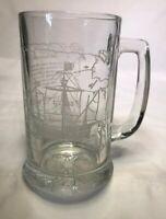 Vintage The Santa Maria Etched Glass Beer Mug Columbus Voyage Nautical Ship 16oz