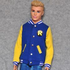 "Handmade doll yellow blue Baseball Jacket clothes for 12""  ken dolls"