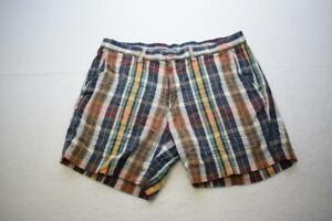 Polo Ralph Lauren India Madras Shorts Plaid Flat Khaki Chino Mens Size 34