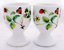 Strawberries & Butterflies Eggcups Set 2 Bone China Egg Cups Decorated in U.K.