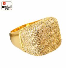 Men's Hip Hop 14k Gold Plated Brass Hand Setting CZ Band  Band Pinky Rings