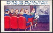 Lost Panties at the Cinema. Risque Vintage Comic Postcard. Free UK Postage