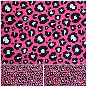 Polycotton Fabric Crafts PINK ANIMAL PRINT LEOPARD  Special Offer METRE REMNANT
