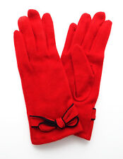 Ladies Wool Gloves RED with Contrasting BOW