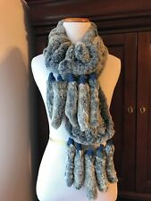 Mitchies Fur Scarf Blue Gray Tails Wrap Rabbit Fur