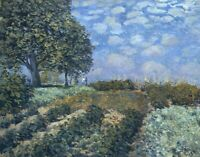 Fields Alfred Sisley Landscape Wall Art Print on CANVAS Painting Decoration 9x10