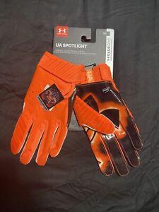 NEW Mens Under Armour Spotlight Receiver Football Gloves - Orange/Black