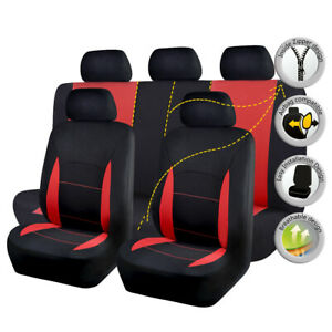 Car Seat Covers Universal Set Breathable Split 40/60 50/50 Fit Airbag Red Black