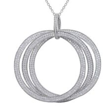 Sterling Silver White CZ Large Linked Circles Necklace Pendant