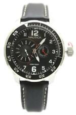New Nautica Multi-Function Black Leather Date Men Dress Watch 47mm N15588G $155