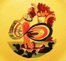1940s MEXICAN HAT DANCE vtg paden city art pottery plate california western girl