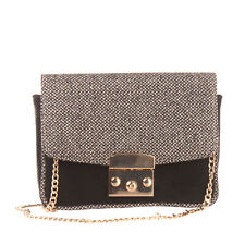 Leather Shoulder Bag Metallic Effect Patterned Chain Strap Flap Made in Italy