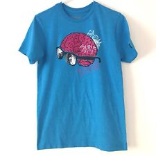 GROM USA Youth Graphic Short Sleeve Blue Tee Shirt, 'Surf Brain' - Size Small