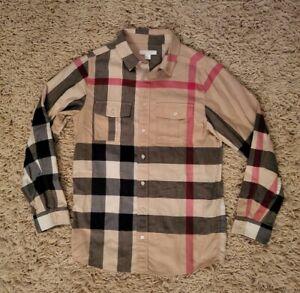 Burberry Boy's Nova Check Camel Red Black Cotton Buttoned Dress Shirt 14Y 164CM
