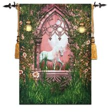 Magical Mythical Unicorn Pink Fairytale Design Loom Woven Tapestry 57 x 79cm