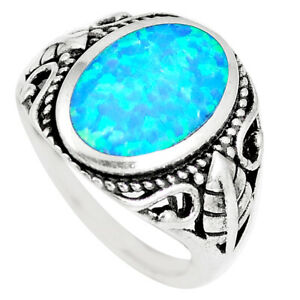 3.83cts Blue Australian Opal (lab) 925 Sterling Silver Ring Size 7 C22981