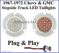 1967-1972 Chevy GMC Stepside Truck Clear to Red LED Taillights Tail Light FS