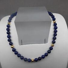 ❂ ► Lapis- Kette, Verschluß 14 kt, 585, Perlen 18kt, 750 Gold, 46 cm Lang