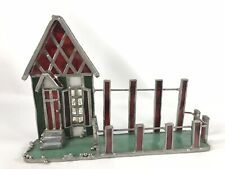 Vintage Stained Glass House w/ Picket Fence Business Card Holder