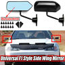 F1 Racing Style Universal Rearview Side Wing Mirrors Convex Glass Glossy Black