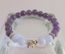 Amethyst Blue Lace Agate 8mm Gemstone Lucky Elephant Bracelet Healing Grounding