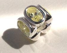 AUTHENTIC Pandora Silver Lime Ovals C ubic Zirconia Bead 790311CZL