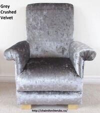 Silver Grey Crushed Velvet Fabric Child's Chair Kid's Armchair Nursery Bedroom