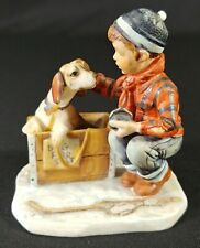 Vintage Gorham Norman Rockwell Figurine Four Seasons Winter- A Boy Meets His Dog
