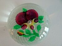 Early 20th Century Chinese Art Glass LAMPWORK PANSY FILIGREE Paperweight