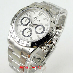 PARNIS 39mm Men's Watch White Dial Full Chronograph Quartz Watch Sapphire Glass