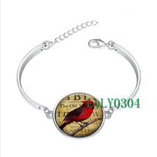 Redbird glass cabochon Tibet silver bangle bracelets wholesale